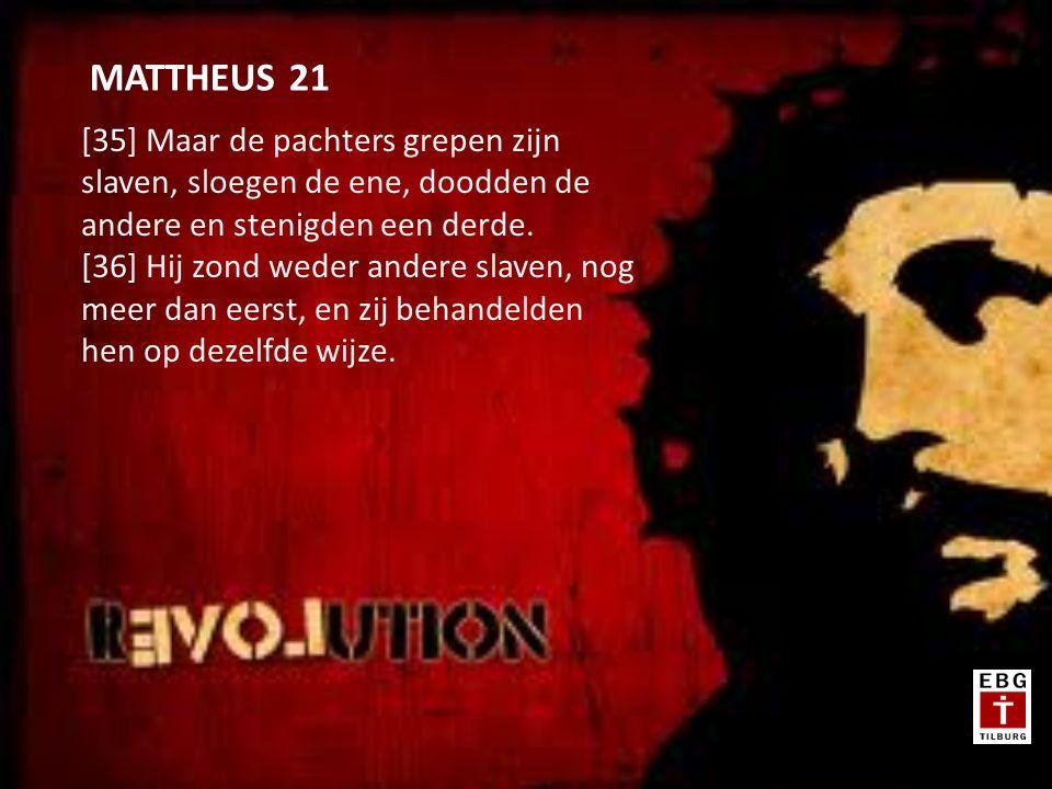 [35] Maar de pachters grepen zijn slaven, sloegen de ene, doodden de andere en stenigden een derde.