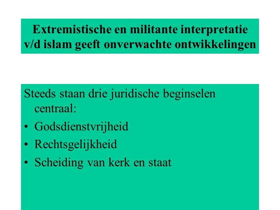 Extremistische en militante interpretatie v/d islam geeft onverwachte ontwikkelingen Steeds staan drie juridische beginselen centraal: Godsdienstvrijheid Rechtsgelijkheid Scheiding van kerk en staat