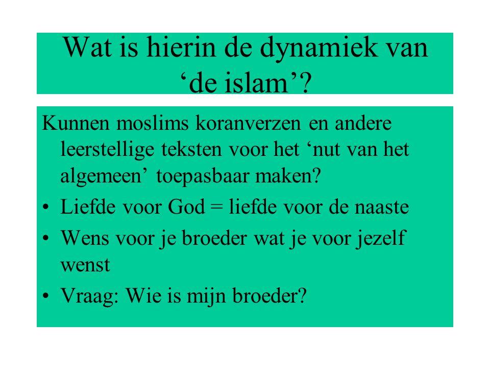 Wat is hierin de dynamiek van 'de islam'.