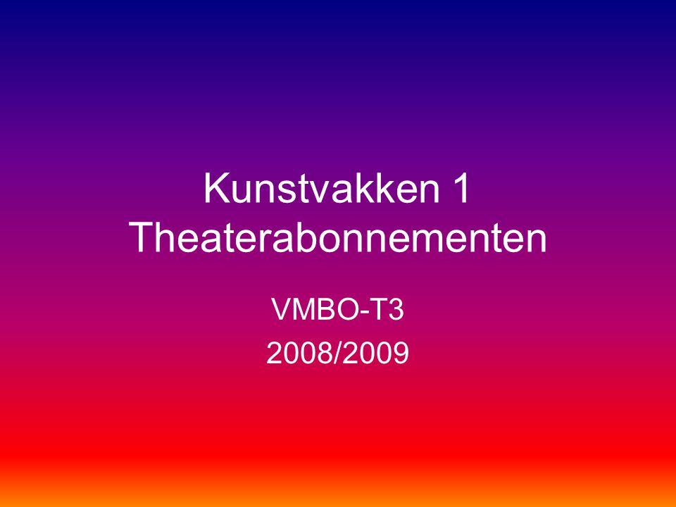 Kunstvakken 1 Theaterabonnementen VMBO-T3 2008/2009