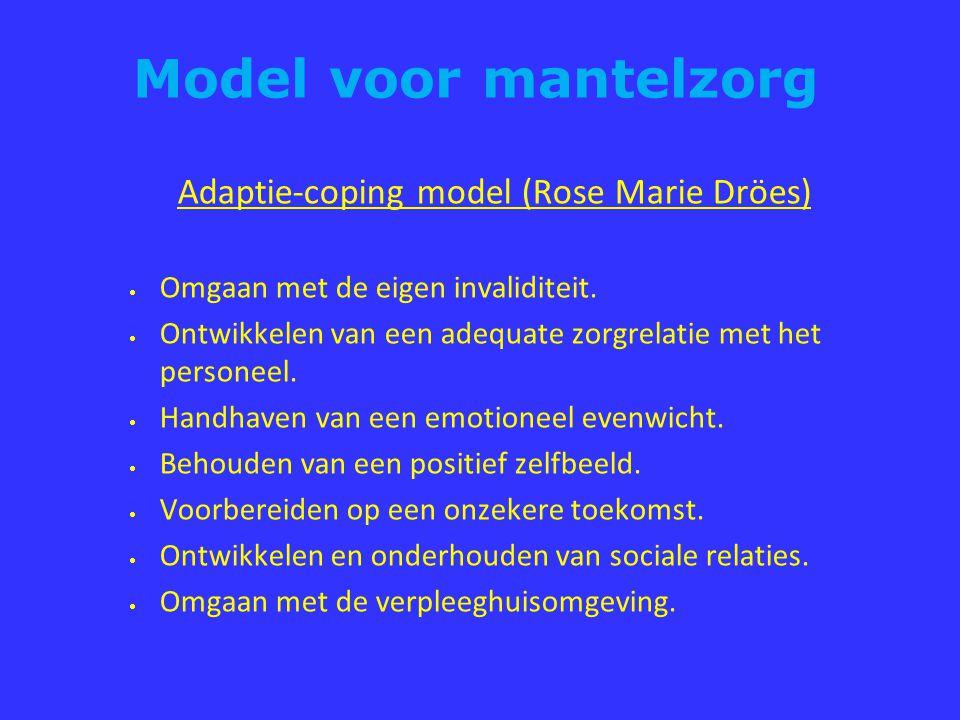 Model voor mantelzorg Adaptie-coping model (Rose Marie Dröes)  Omgaan met de eigen invaliditeit.