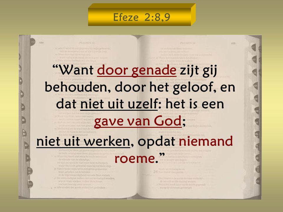 Efeze 2:8,9 Want door genade zijt gij behouden, door het geloof, en dat niet uit uzelf: het is een gave van God; niet uit werken, opdat niemand roeme.