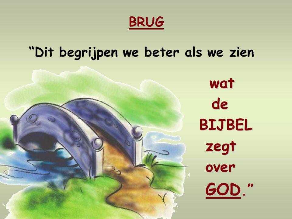 BRUG Dit begrijpen we beter als we zien wat de de BIJBEL BIJBEL zegt zegt over over GOD. GOD.