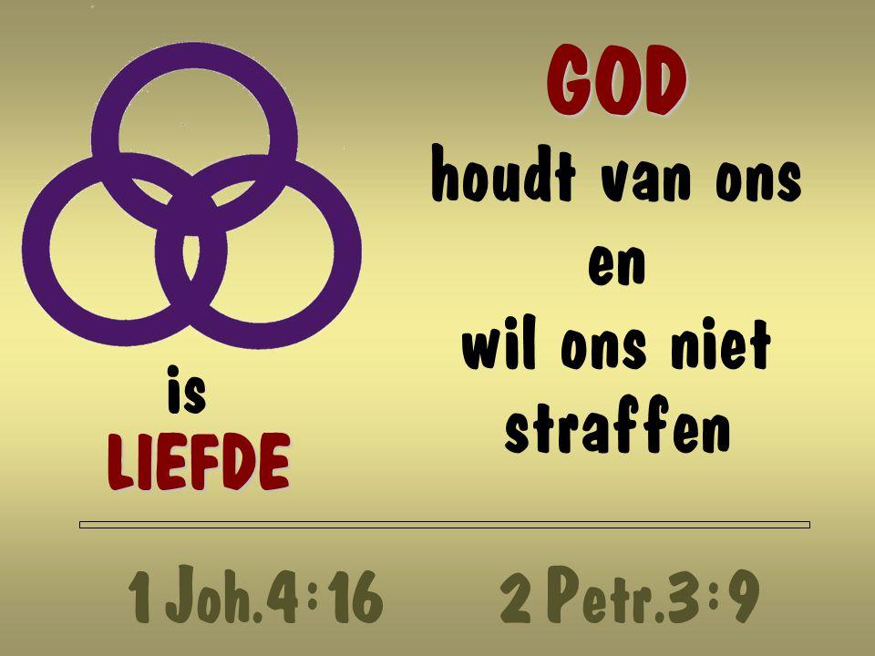 GOD GOD houdt van ons en wil ons niet straffen is LIEFDE 1 Joh.4 : 162 Petr.3 : 9
