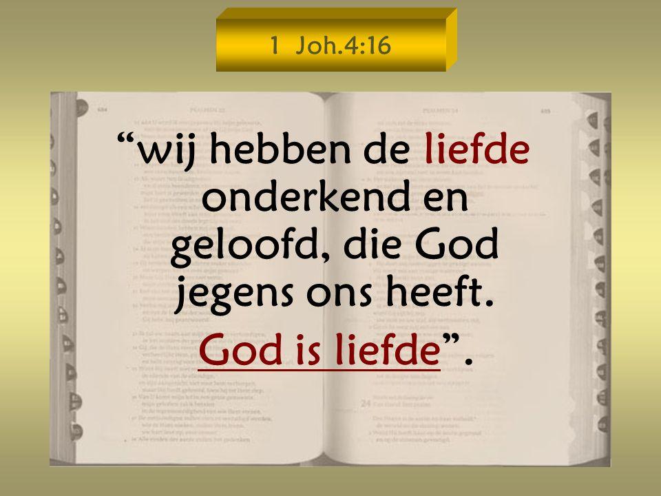 1 Joh.4:16 wij hebben de liefde onderkend en geloofd, die God jegens ons heeft. God is liefde .