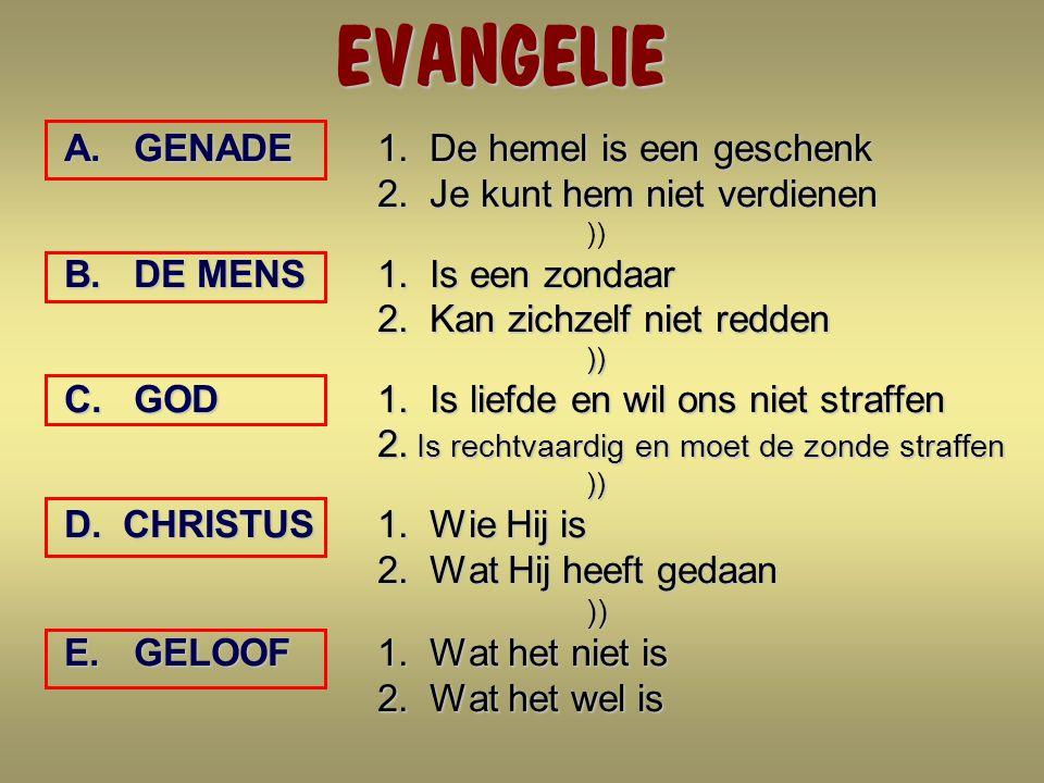 EVANGELIE A.GENADE 1.De hemel is een geschenk 2. Je kunt hem niet verdienen 2.