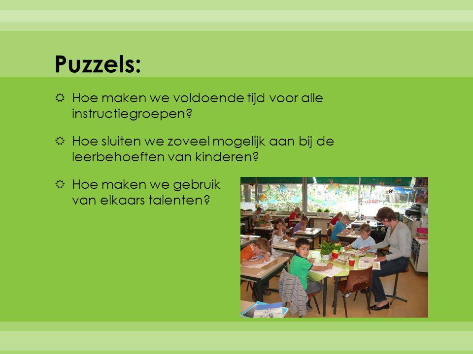 Puzzels:  Hoe maken we voldoende tijd voor alle instructiegroepen.