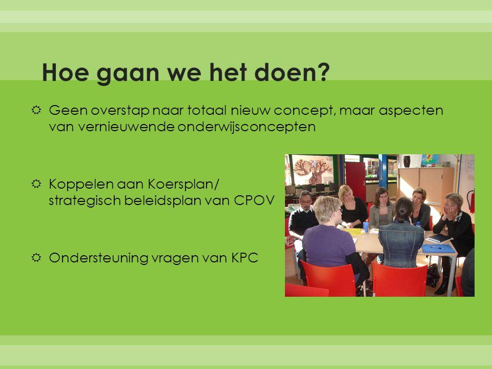  Geen overstap naar totaal nieuw concept, maar aspecten van vernieuwende onderwijsconcepten  Koppelen aan Koersplan/ strategisch beleidsplan van CPOV  Ondersteuning vragen van KPC