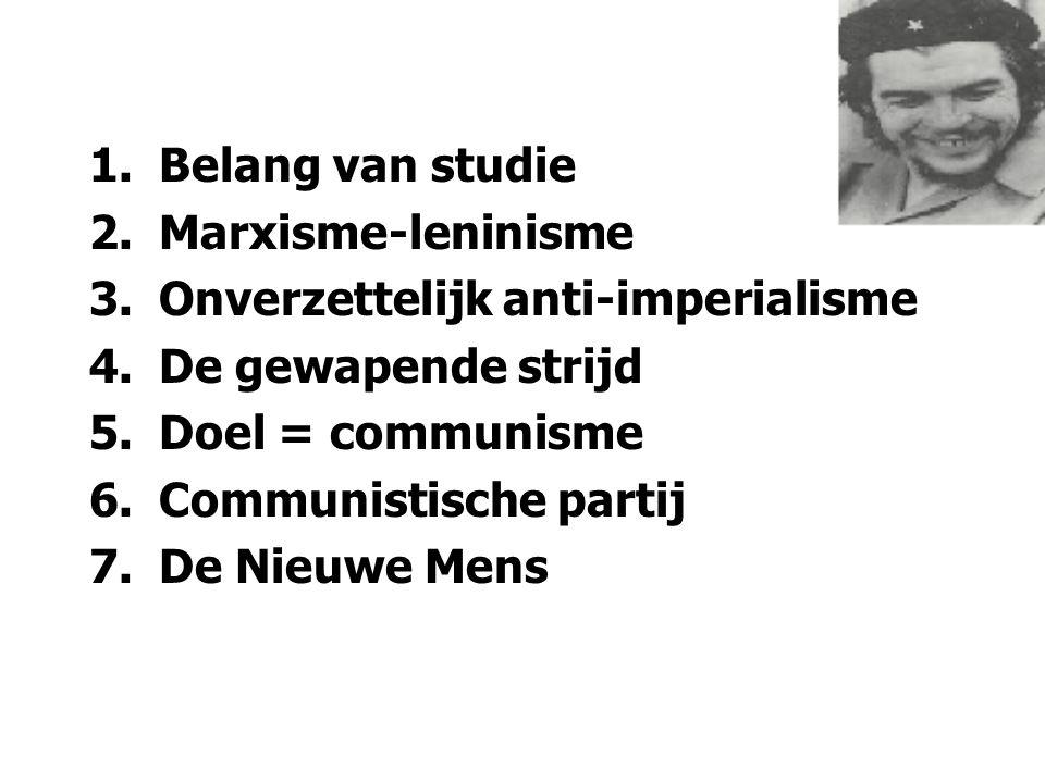 1.Belang van studie 2.Marxisme-leninisme 3.Onverzettelijk anti-imperialisme 4.De gewapende strijd 5.Doel = communisme 6.Communistische partij 7.De Nie