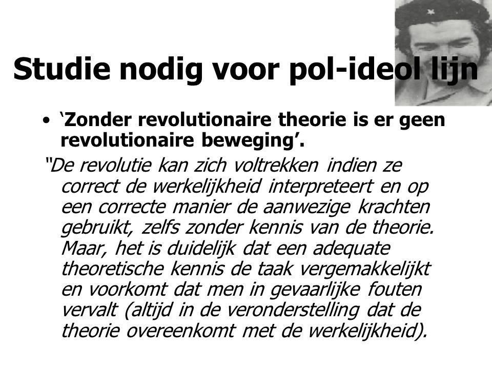 """Studie nodig voor pol-ideol lijn 'Zonder revolutionaire theorie is er geen revolutionaire beweging'. """"De revolutie kan zich voltrekken indien ze corre"""