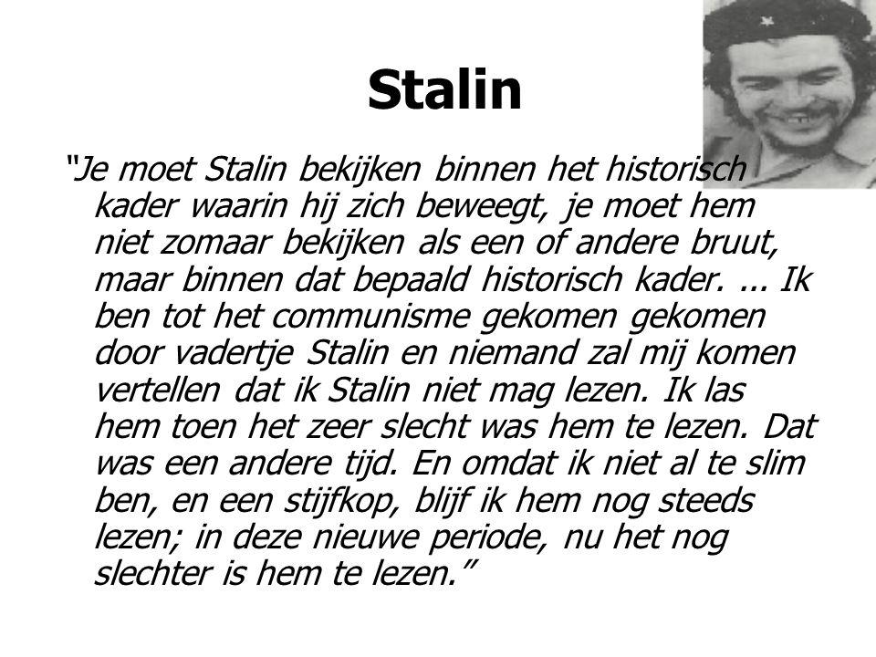 En zowel toen als nu vind ik bij Stalin een reeks dingen die zeer goed zijn, vooral dat wat neergeschreven is in de 14 delen, met uitzondering van het deel van de personencultus, dat al van na de zuiveringen dateert, van die crisis van de processen van '36-'39.