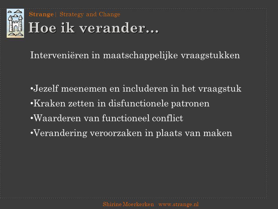 Strange | Strategy and Change Shirine Moerkerkenwww.strange.nl Kraken vanuit de context In subgroepen: 1.Met welk (maatschappelijk) vraagstuk zijn de organisaties in deze branche bezig.