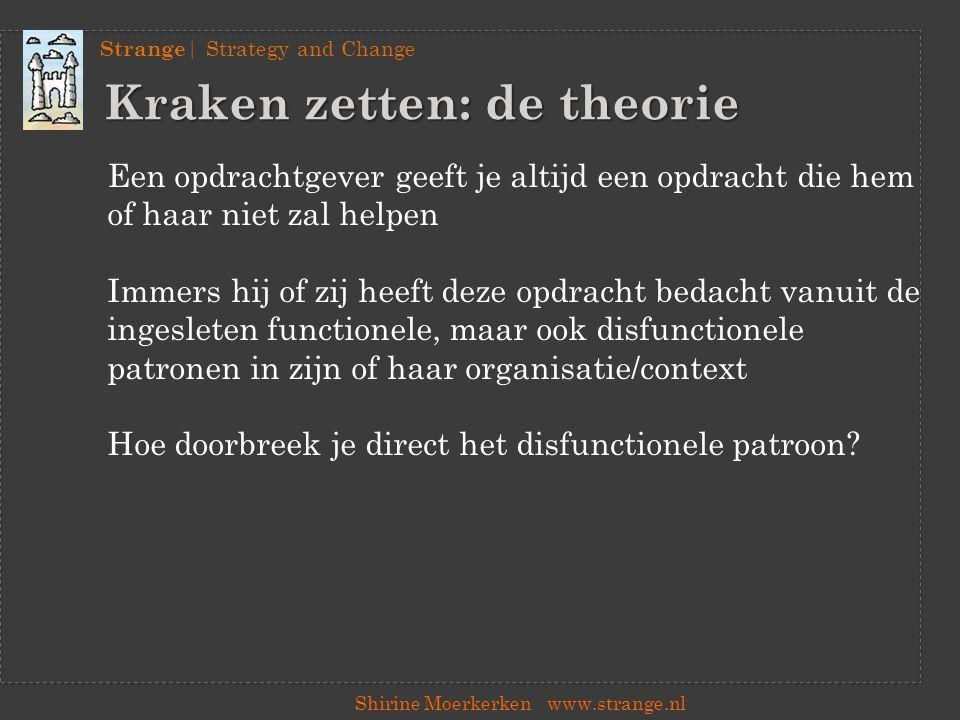 Strange | Strategy and Change Shirine Moerkerkenwww.strange.nl Preview Hoe ik verander Begin 2014 verkrijgbaar in de boekhandel!