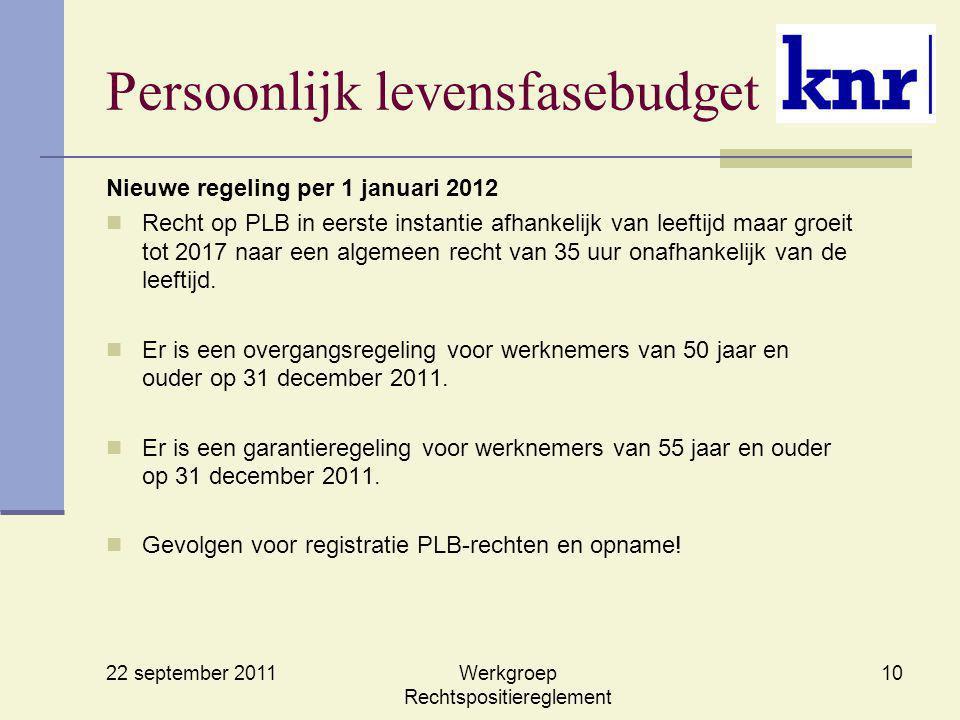 22 september 2011 Werkgroep Rechtspositiereglement 10 Persoonlijk levensfasebudget Nieuwe regeling per 1 januari 2012 Recht op PLB in eerste instantie