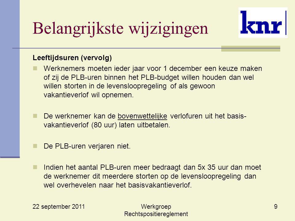 22 september 2011 Werkgroep Rechtspositiereglement 9 Belangrijkste wijzigingen Leeftijdsuren (vervolg) Werknemers moeten ieder jaar voor 1 december ee