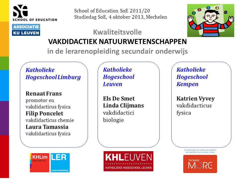 Kwaliteitsvolle VAKDIDACTIEK NATUURWETENSCHAPPEN in de lerarenopleiding secundair onderwijs Katholieke Hogeschool Limburg Renaat Frans promotor en vak