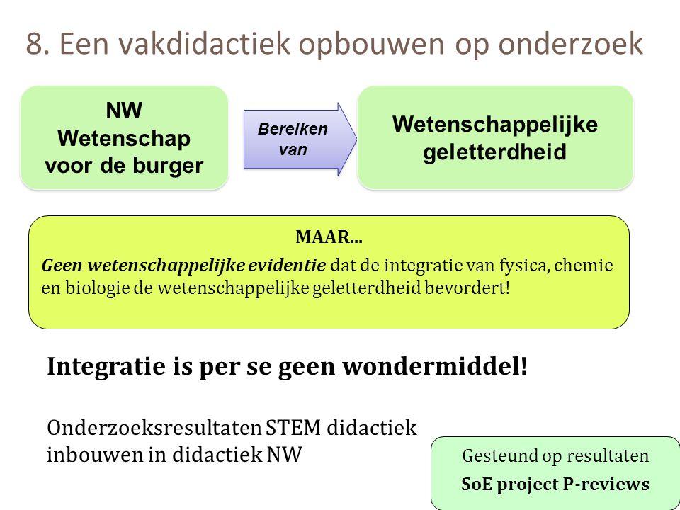 8. Een vakdidactiek opbouwen op onderzoek Integratie is per se geen wondermiddel! Onderzoeksresultaten STEM didactiek inbouwen in didactiek NW Gesteun