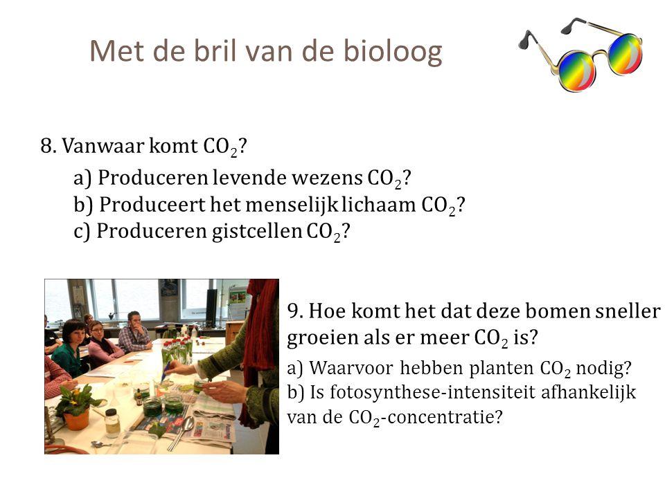 Met de bril van de bioloog 8. Vanwaar komt CO 2 ? a) Produceren levende wezens CO 2 ? b) Produceert het menselijk lichaam CO 2 ? c) Produceren gistcel