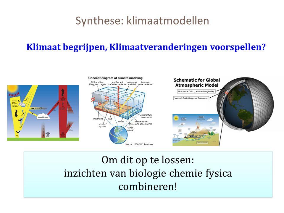 Synthese: klimaatmodellen Om dit op te lossen: inzichten van biologie chemie fysica combineren! Klimaat begrijpen, Klimaatveranderingen voorspellen?