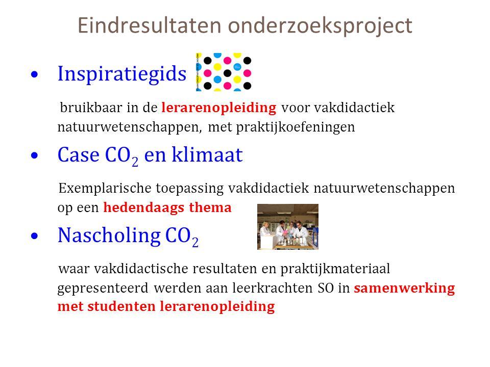Eindresultaten onderzoeksproject Inspiratiegids bruikbaar in de lerarenopleiding voor vakdidactiek natuurwetenschappen, met praktijkoefeningen Case CO