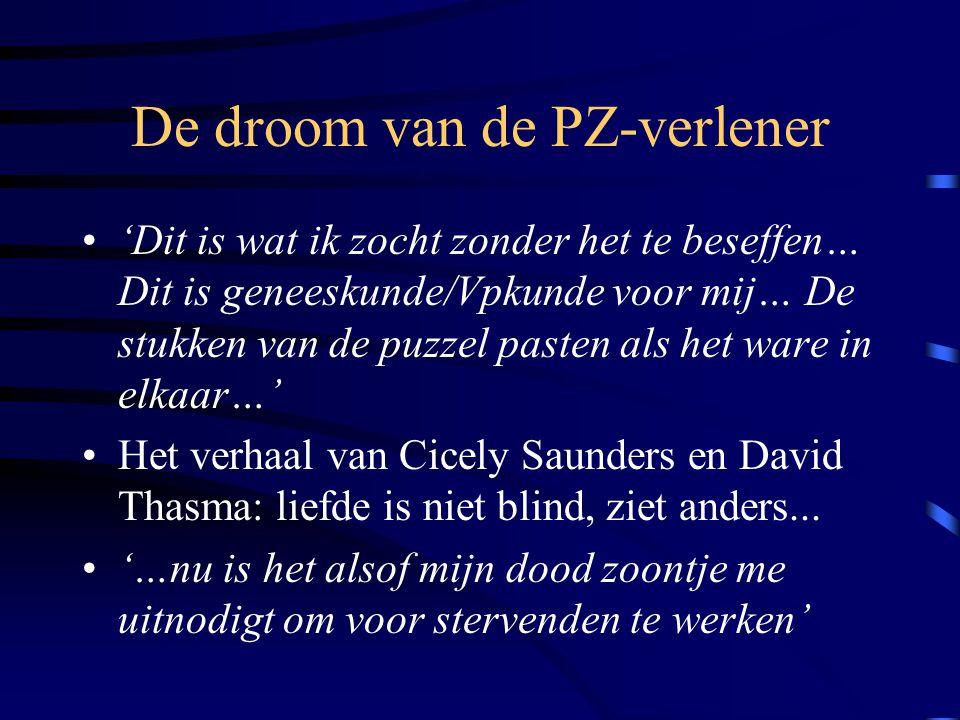 De droom van de PZ-verlener 'Dit is wat ik zocht zonder het te beseffen… Dit is geneeskunde/Vpkunde voor mij… De stukken van de puzzel pasten als het ware in elkaar…' Het verhaal van Cicely Saunders en David Thasma: liefde is niet blind, ziet anders...
