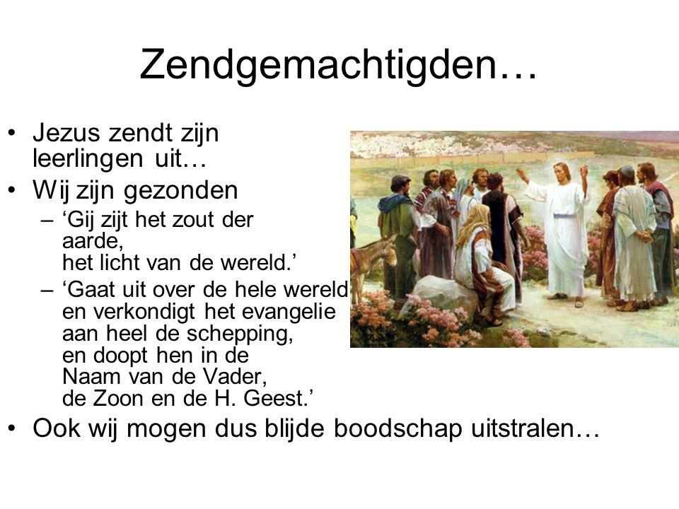 Zendgemachtigden… Jezus zendt zijn leerlingen uit… Wij zijn gezonden –'Gij zijt het zout der aarde, het licht van de wereld.' –'Gaat uit over de hele