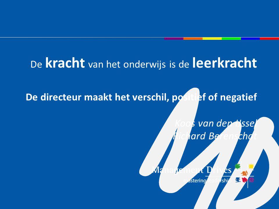De kracht van het onderwijs is de leerkracht De directeur maakt het verschil, positief of negatief Koos van den IJssel Richard Berenschot
