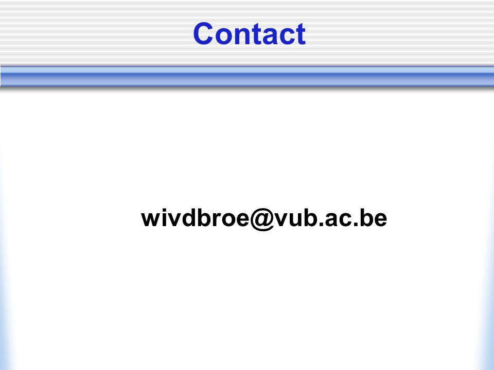 Contact wivdbroe@vub.ac.be