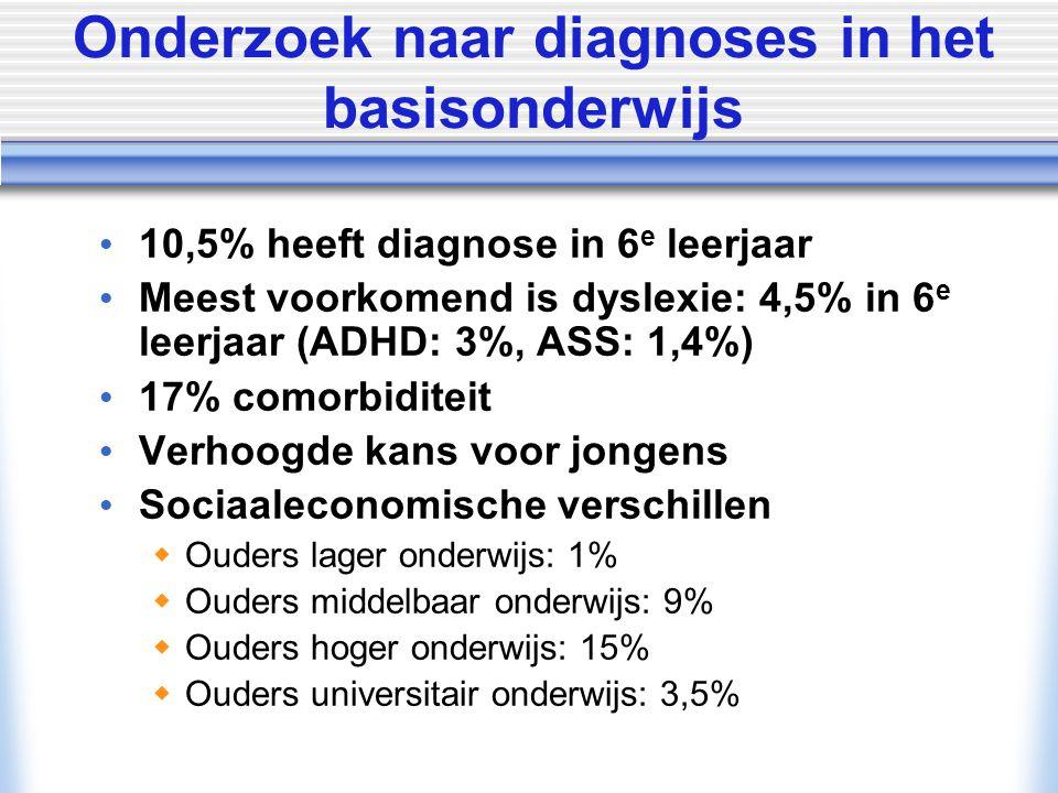 © Allyn & Bacon/ Longman 2007 Onderzoek naar diagnoses in het basisonderwijs 10,5% heeft diagnose in 6 e leerjaar Meest voorkomend is dyslexie: 4,5% i