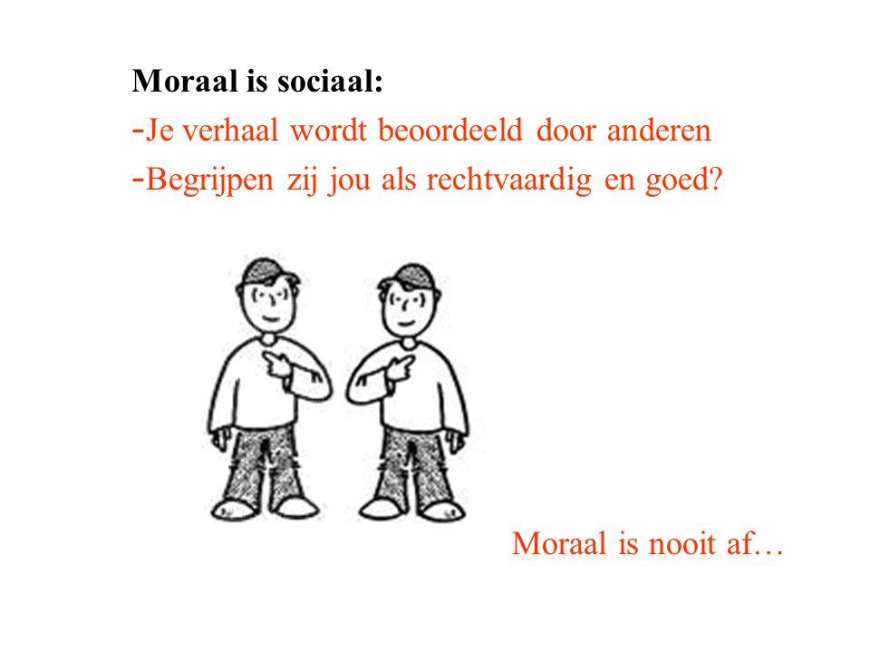 Moraal is sociaal: - Je verhaal wordt beoordeeld door anderen - Begrijpen zij jou als rechtvaardig en goed? Moraal is nooit af…