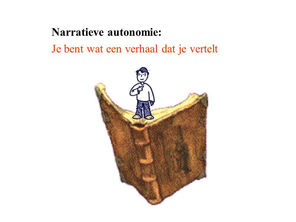 Vormen mens tot moreel persoon Verhalen: verhoogd begrip Grensverleggende moraal Verhalen geven eenheid http://youtu.be/PCyFyjEcFB4?t=1m50s tot 4.56 Verhalen