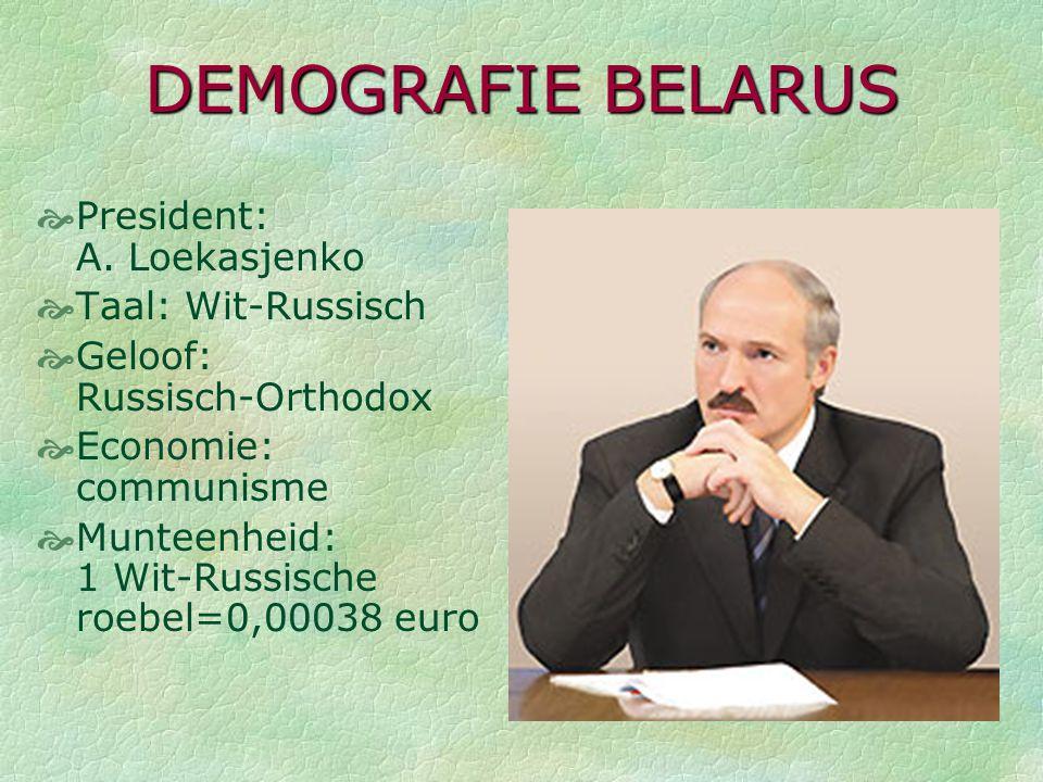KAART Wit-Rusland = Belarus  Oost-Europa  10 miljoen inwoners (= België)  8 keer groter  Minsk: hoofdstad  Gomel: 2de grootste stad: 600 000 inw.