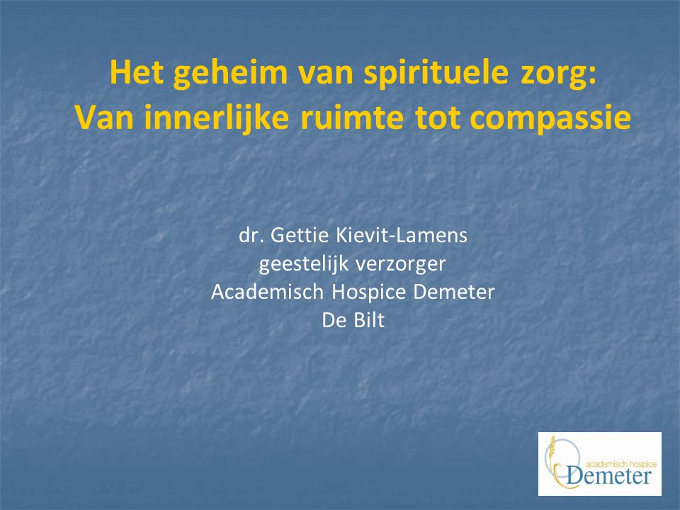 Het geheim van spirituele zorg: Van innerlijke ruimte tot compassie dr.