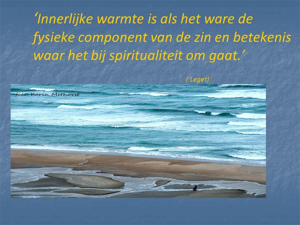 ' Innerlijke warmte is als het ware de fysieke component van de zin en betekenis waar het bij spiritualiteit om gaat.' ( Leget)