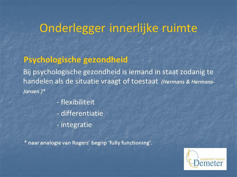 Onderlegger innerlijke ruimte Psychologische gezondheid Bij psychologische gezondheid is iemand in staat zodanig te handelen als de situatie vraagt of toestaat (Hermans & Hermans- Jansen )* - flexibiliteit - differentiatie - integratie * naar analogie van Rogers' begrip 'fully functioning'.