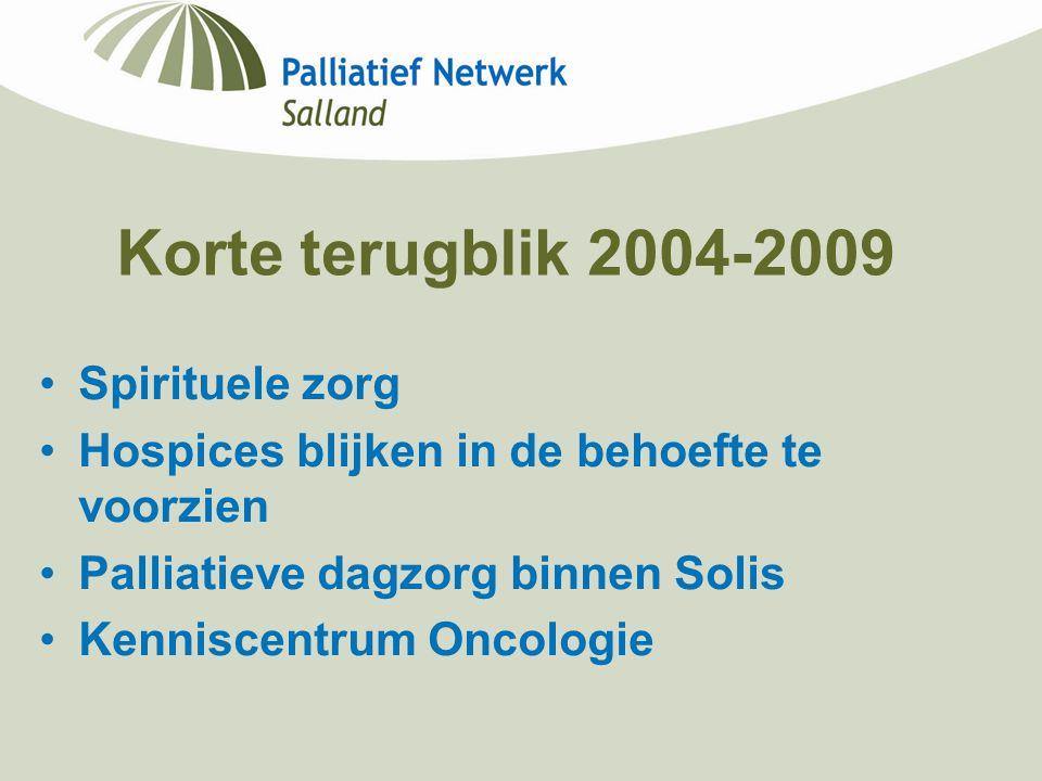 Korte terugblik 2004-2009 Spirituele zorg Hospices blijken in de behoefte te voorzien Palliatieve dagzorg binnen Solis Kenniscentrum Oncologie