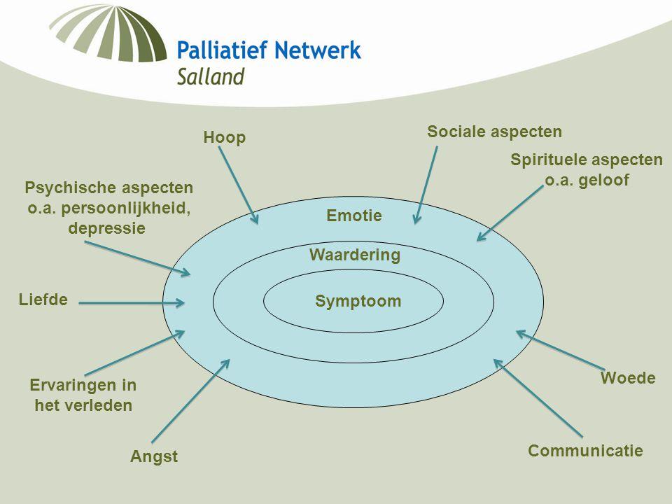 Symptoom Waardering Emotie Psychische aspecten o.a. persoonlijkheid, depressie Liefde Ervaringen in het verleden Angst Sociale aspecten Spirituele asp