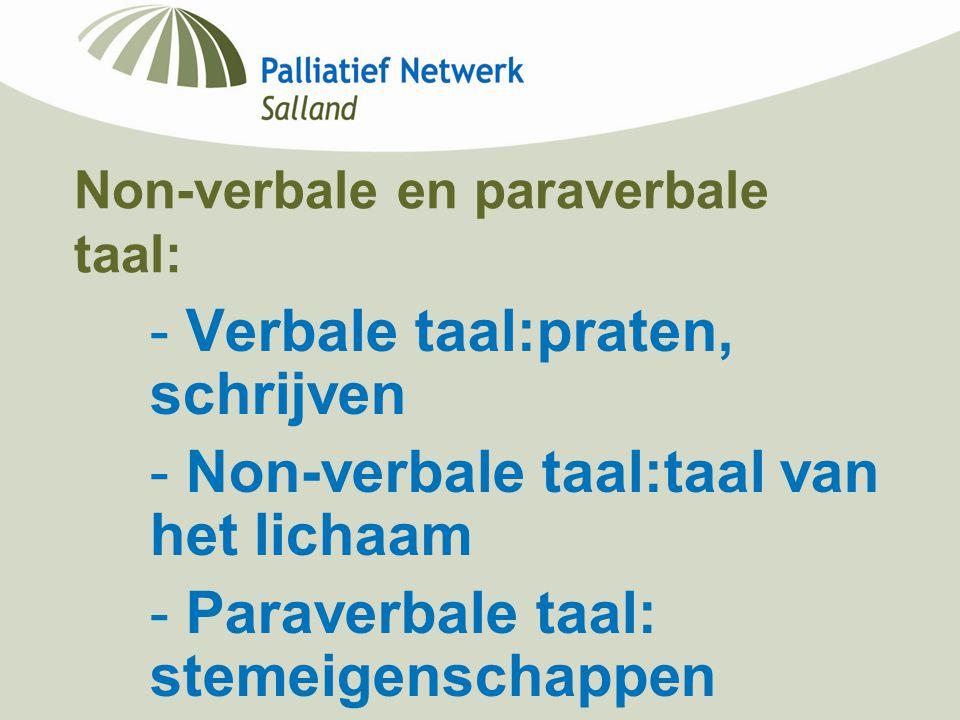 Non-verbale en paraverbale taal: - Verbale taal:praten, schrijven - Non-verbale taal:taal van het lichaam - Paraverbale taal: stemeigenschappen