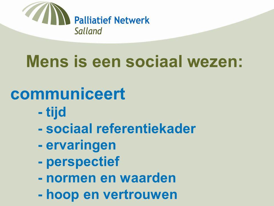 Mens is een sociaal wezen: communiceert - tijd - sociaal referentiekader - ervaringen - perspectief - normen en waarden - hoop en vertrouwen