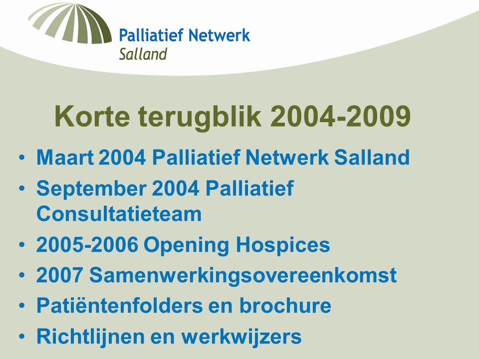 Korte terugblik 2004-2009 Maart 2004 Palliatief Netwerk Salland September 2004 Palliatief Consultatieteam 2005-2006 Opening Hospices 2007 Samenwerking