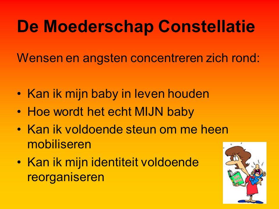 De Moederschap Constellatie Wensen en angsten concentreren zich rond: Kan ik mijn baby in leven houden Hoe wordt het echt MIJN baby Kan ik voldoende steun om me heen mobiliseren Kan ik mijn identiteit voldoende reorganiseren
