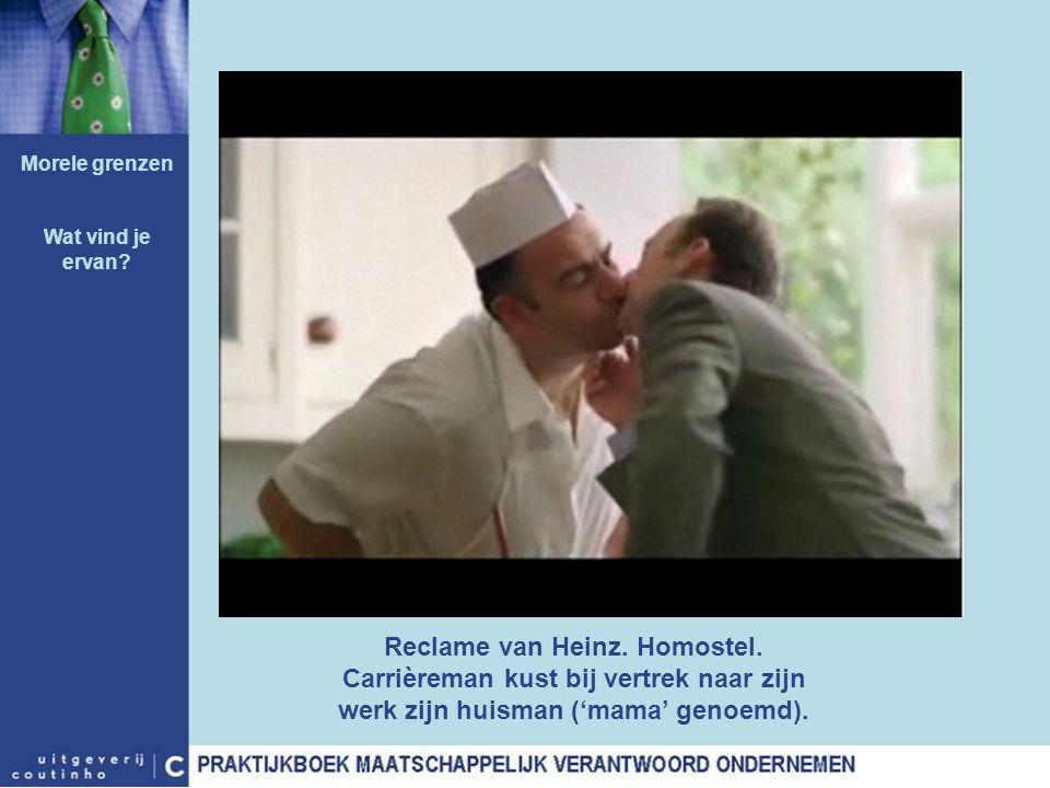 Reclame van Heinz. Homostel. Carrièreman kust bij vertrek naar zijn werk zijn huisman ('mama' genoemd). Morele grenzen Wat vind je ervan?