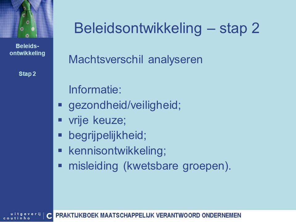 Beleidsontwikkeling – stap 2 Machtsverschil analyseren Informatie:  gezondheid/veiligheid;  vrije keuze;  begrijpelijkheid;  kennisontwikkeling; 