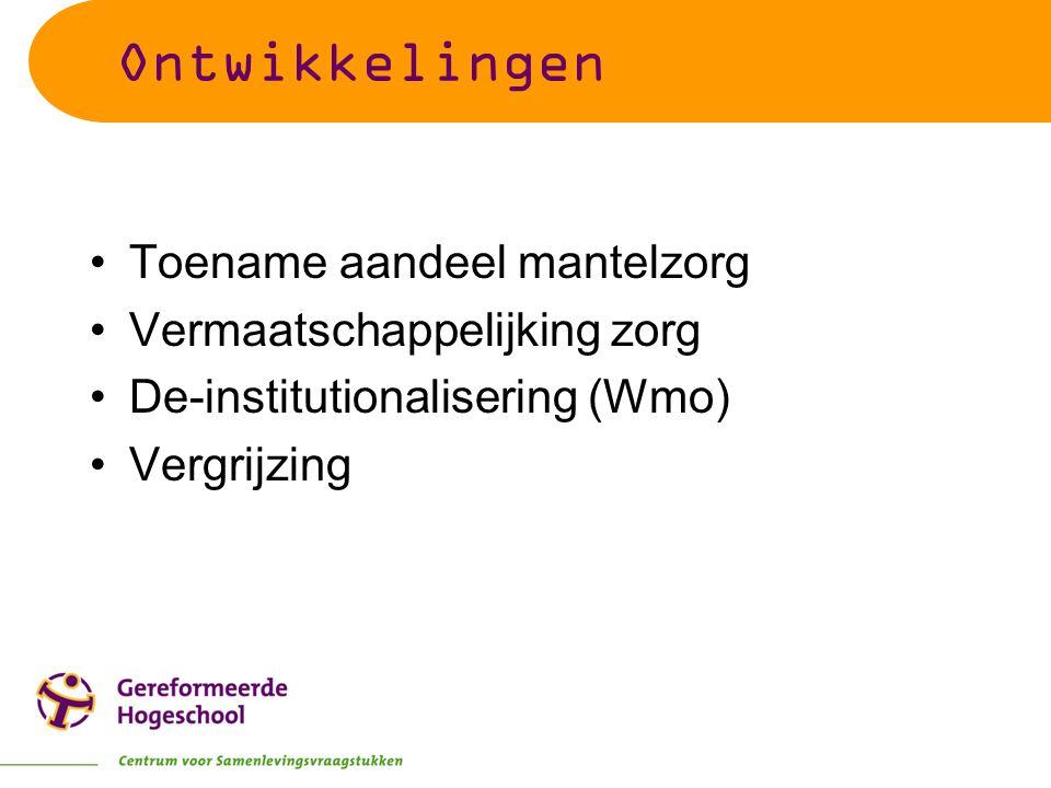 Ontwikkelingen Toename aandeel mantelzorg Vermaatschappelijking zorg De-institutionalisering (Wmo) Vergrijzing