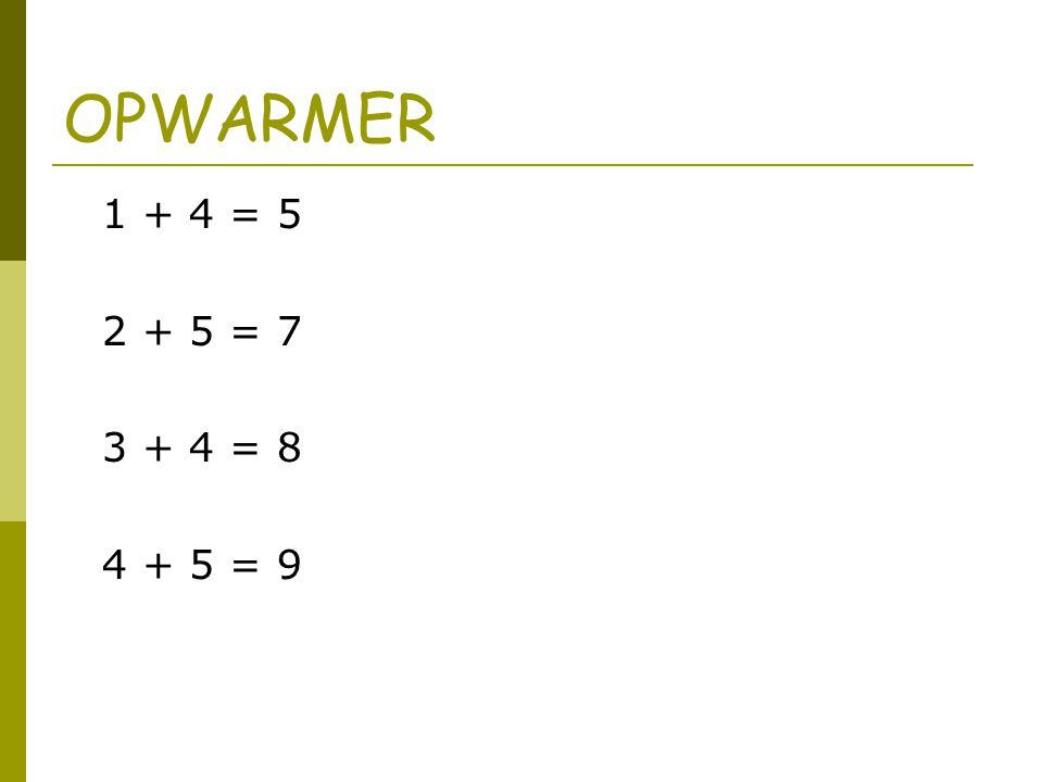 OPWARMER 1 + 4 = 5 2 + 5 = 7 3 + 4 = 8 4 + 5 = 9