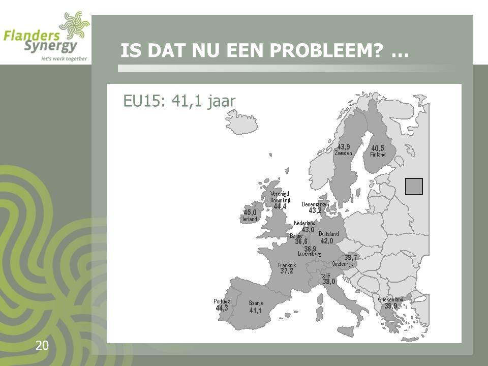 20 EU15: 41,1 jaar IS DAT NU EEN PROBLEEM …