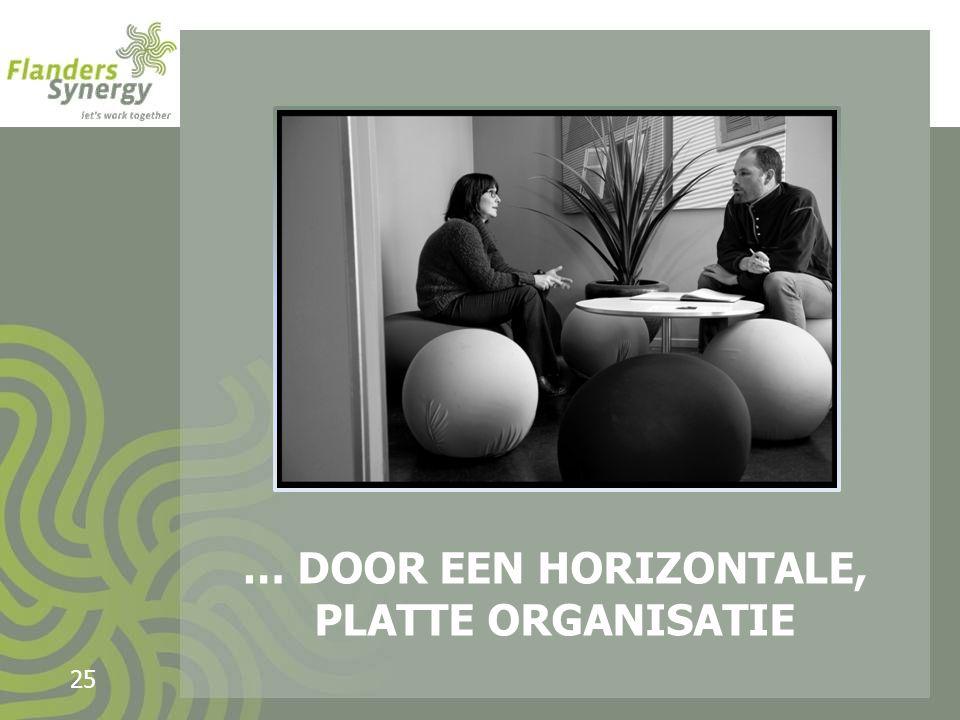 … DOOR EEN HORIZONTALE, PLATTE ORGANISATIE 25