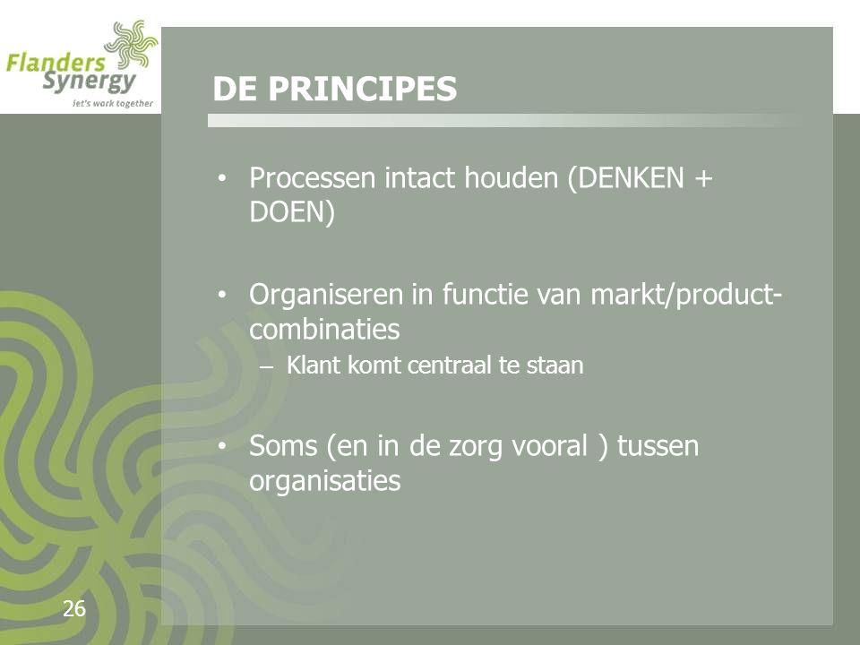 26 Processen intact houden (DENKEN + DOEN) Organiseren in functie van markt/product- combinaties – Klant komt centraal te staan Soms (en in de zorg vooral ) tussen organisaties DE PRINCIPES