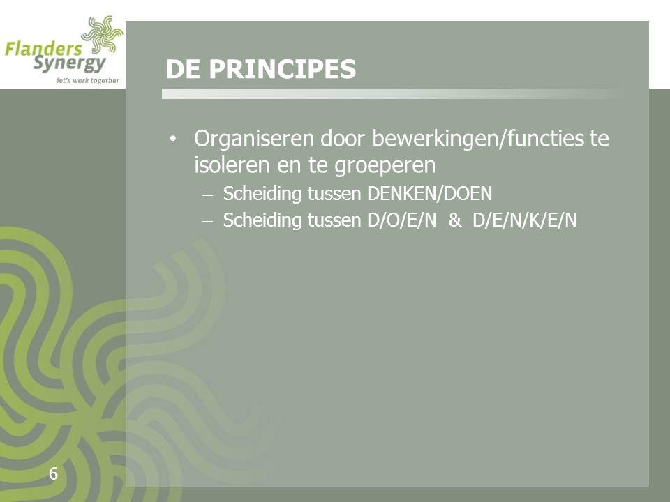 6 Organiseren door bewerkingen/functies te isoleren en te groeperen – Scheiding tussen DENKEN/DOEN – Scheiding tussen D/O/E/N & D/E/N/K/E/N DE PRINCIPES