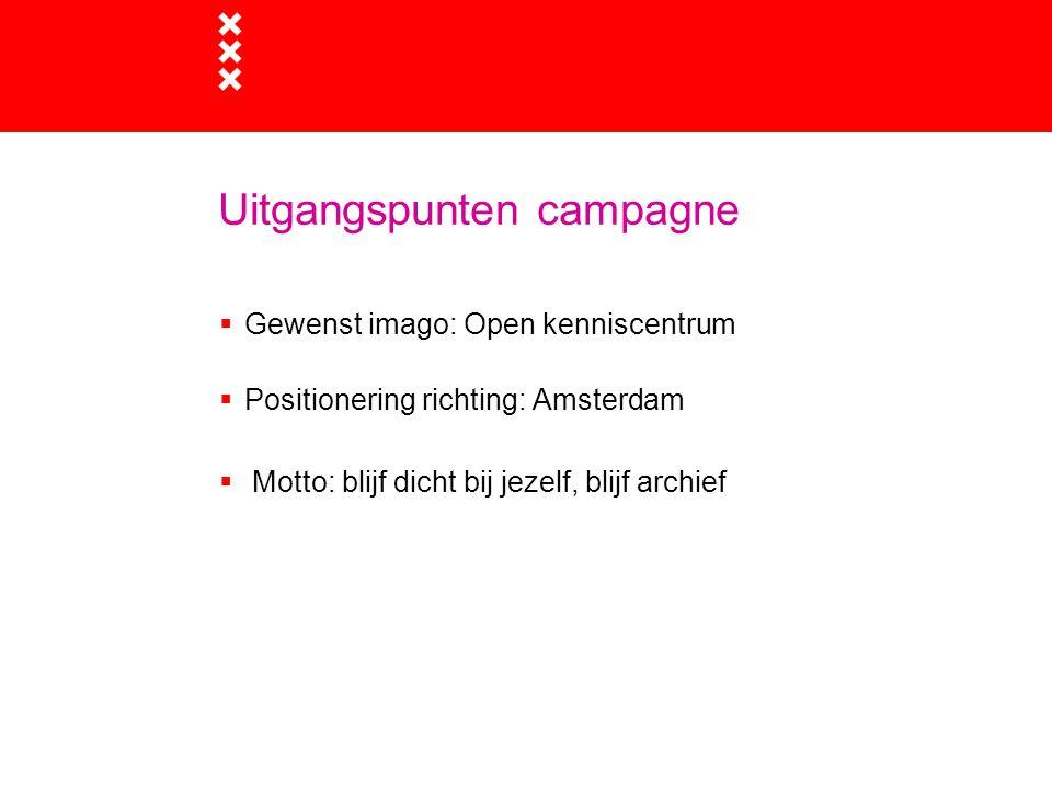 Uitgangspunten campagne  Gewenst imago: Open kenniscentrum  Positionering richting: Amsterdam  Motto: blijf dicht bij jezelf, blijf archief